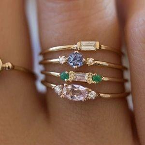 Jewelry - NEW 4 Piece Gold Gemstone Midi Rings Set